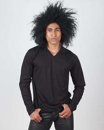 Camiseta cuello v manga larga masculina