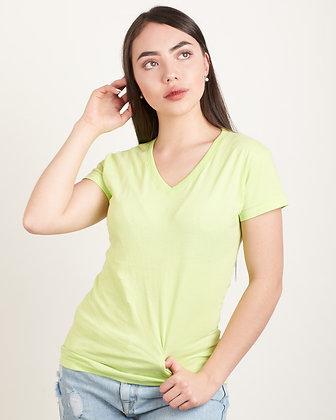 Cuello v femenina Verde limón S