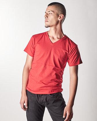 Cuello v algodón masculina Rojo L