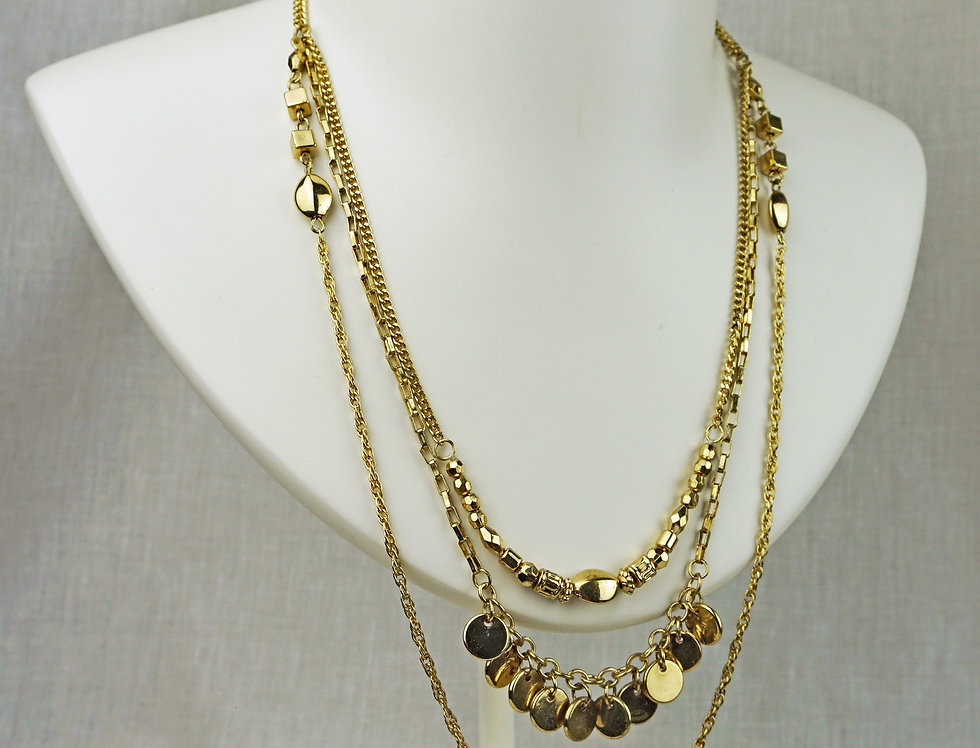 IMAIMA DIAN chain multirow necklace in gold