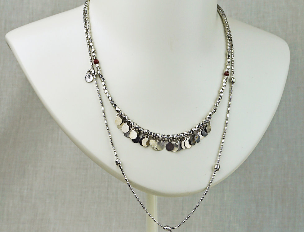 IMAIMA AINA multi row chain necklace in silver