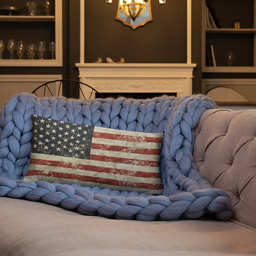 Distressed American Flag Basic Throw Pillow Rectangle Old Glory Porch