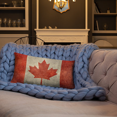 Vintage Look Canadian Flag Canada Maple Leaf Rectangle Pillow