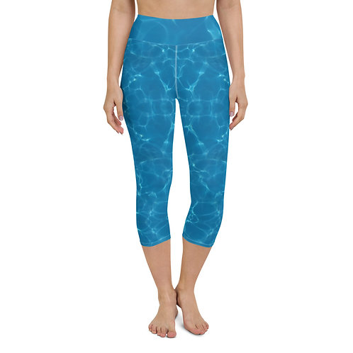 Blue Water Abstract Yoga Capri Leggings for Beach Surfing Paddleboarding