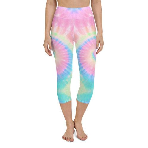 Pink Pastel Tie Dye Yoga Capri Leggings