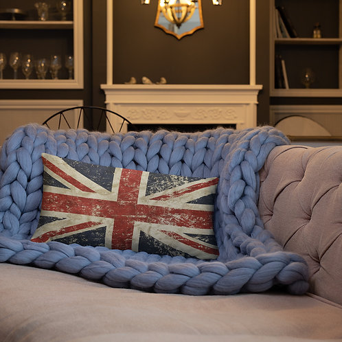 UK Flag Throw Pillow Distressed Vintage Look Basic Rectangle Pillow