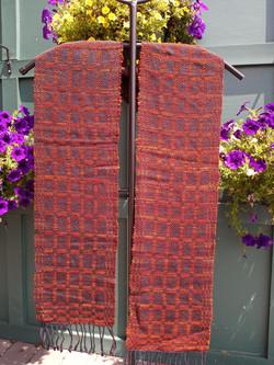 Red wool silk scarf
