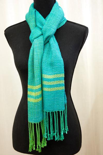hand-dyed silk scarf aqua