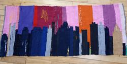 Boston Skyline rug, made of T-shirts