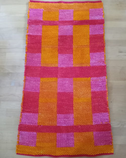 Hand-dyed mop cotton rug