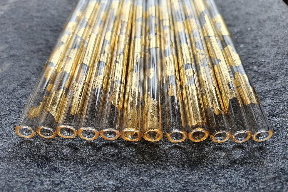 Gold leaf flamework glass tubes | Glassistudio | Maggie Napier