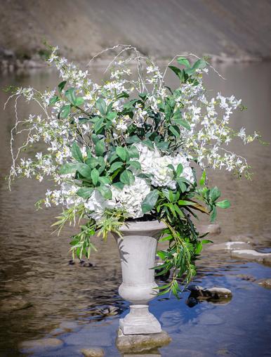 Hydranga faux floral arrangement