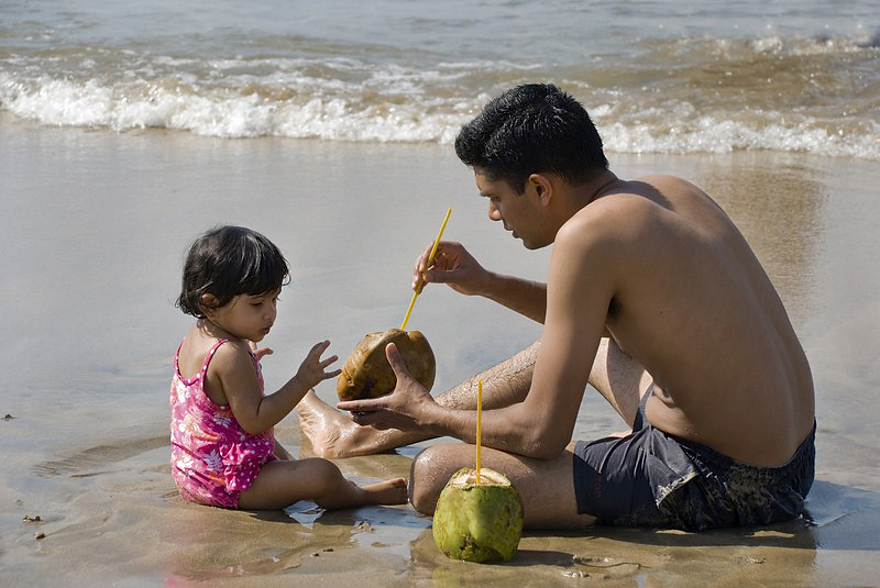 AHP-583 Father & Daughter Cooling Off with Coconut Water.jpg