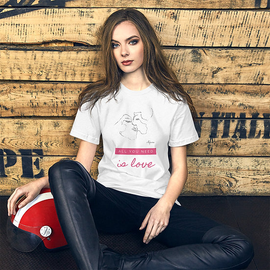 """Unisex Kurzarm T-Shirt """"All you need is love"""""""