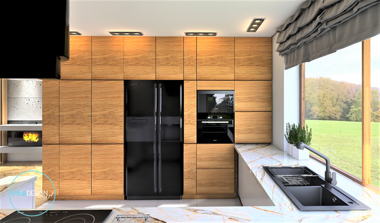 Dom w Pile Kuchnia wood