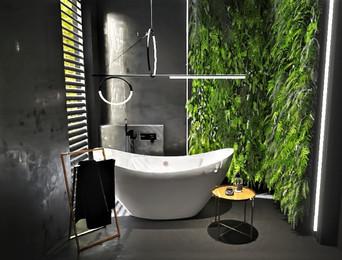 Łazienka ciemna  i roślinność