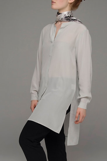 "The Power of Grey longer-line sandwash silk ""Drift"" shirt in silver grey"