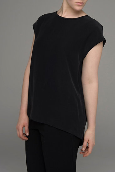 "The Power of Grey pure silk ""Shift"" extended sleeve top in black"