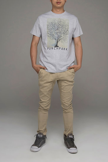 """Punch Park """"Bonsai"""" classic fit tee in grey marle"""