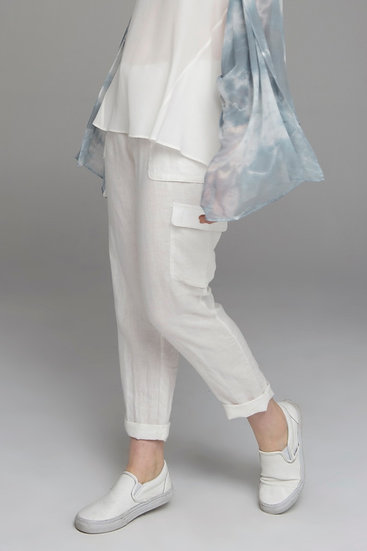 "Punch Park ""Field"" pure linen pant with knit waist in white"