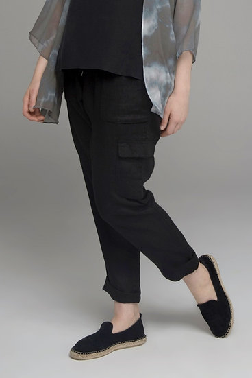 "Punch Park ""Field"" pure linen cargo pant with knit waist in black"