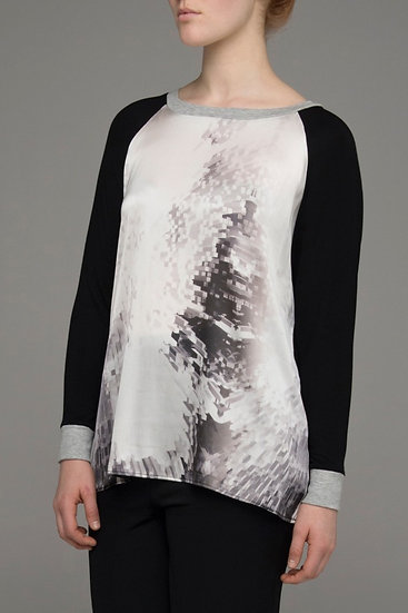 "The Power of Grey ""Cubist"" print front raglan sleeve top"