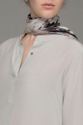 "The Power of Grey ""Cubist"" print long oblong silk scarf"