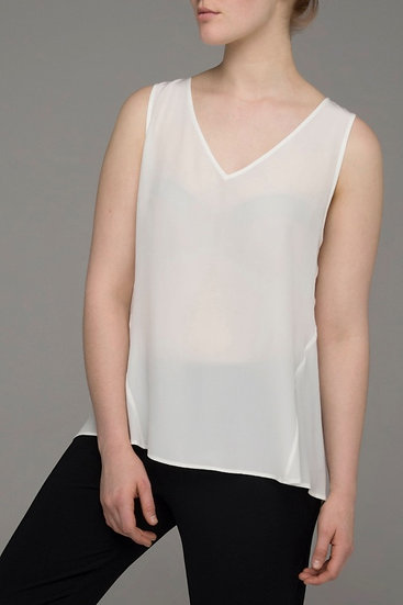 "Punch Park ""Plunge"" silk sleeveless top in gardenia"