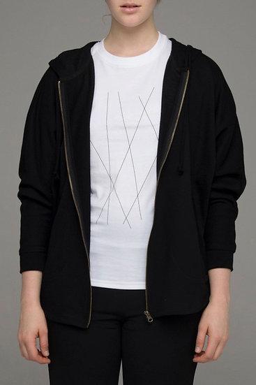 "The Power of Grey ""Blackbird"" zip knit hooded jacket in black"
