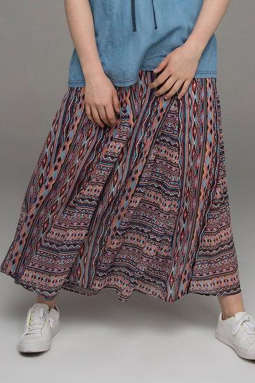 """Beech & Bird """"Native Ikat""""print silk long flowing skirt front view"""
