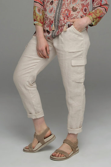 "Punch Park ""Field"" pure linen pant with knit waist in stone"