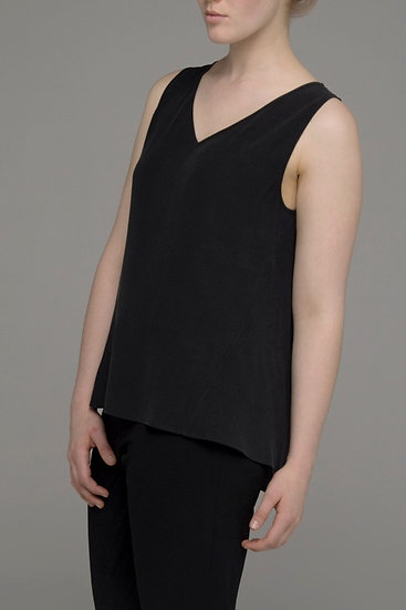 "Punch Park ""Plunge"" silk sleeveless top in black"