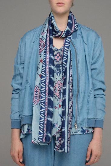 Blue Poeny print scarf