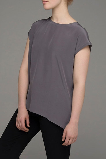 "The Power of Grey pure silk ""Shift"" extended sleeve top in gunmetal"