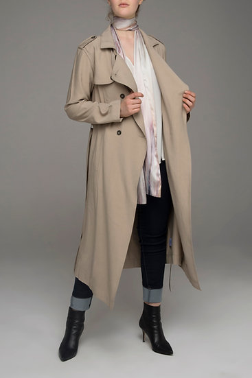 "Beech & Bird ""Finch"" soft trench with tie in beech"