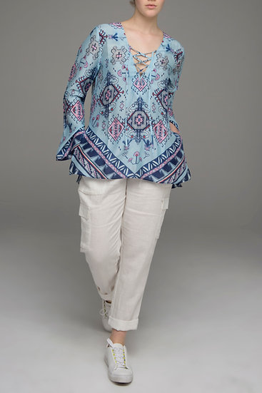 "Blue Poeny print ""Songbird"" tunic top front view"