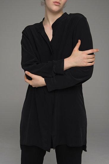 "The Power of Grey longer-line sandwash silk ""Drift"" shirt in black"