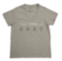 GREY V-NECK COTTON T-SHIRT