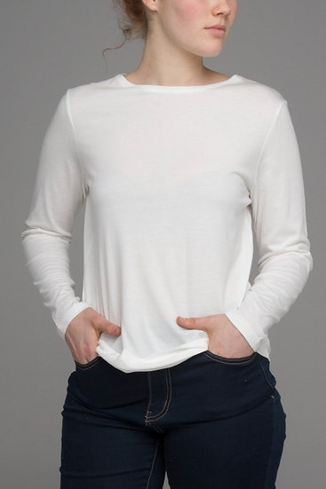 "Punch Park ""Grounded"" stretch long sleeve top in white"