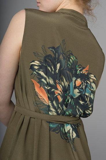 """Beech & Bird silk """"Garland"""" print long mandarin collar shirt dress"""