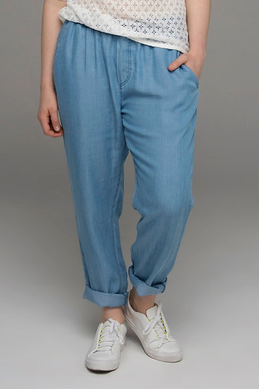 "ch Park ""Bleacher"" tencel jogger pants in chambray blue front view"