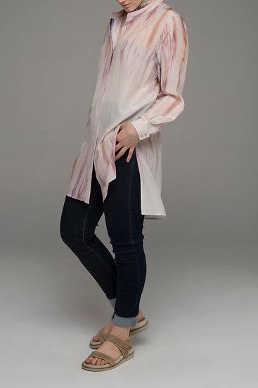 """Beech & Bird pure silk """"Beechwood"""" print long-line """"Drift"""" shirt"""