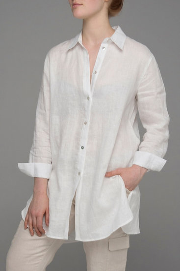 """Punch Park """"Drift"""" pure linen shirt in white front view"""