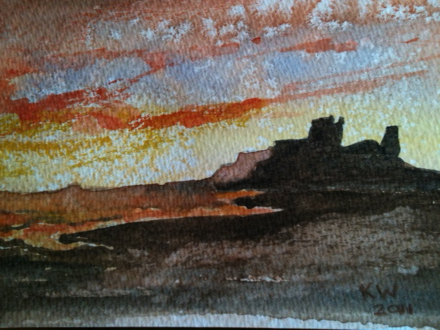Bamburgh Castle Sunset300.JPG