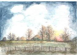 The Twilight of the Year - original watercolour by Kath Woollen www.jpgspirit-of-nature.jpgorg.jpguk