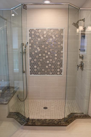 remodeled bathroom with custom frameless shower