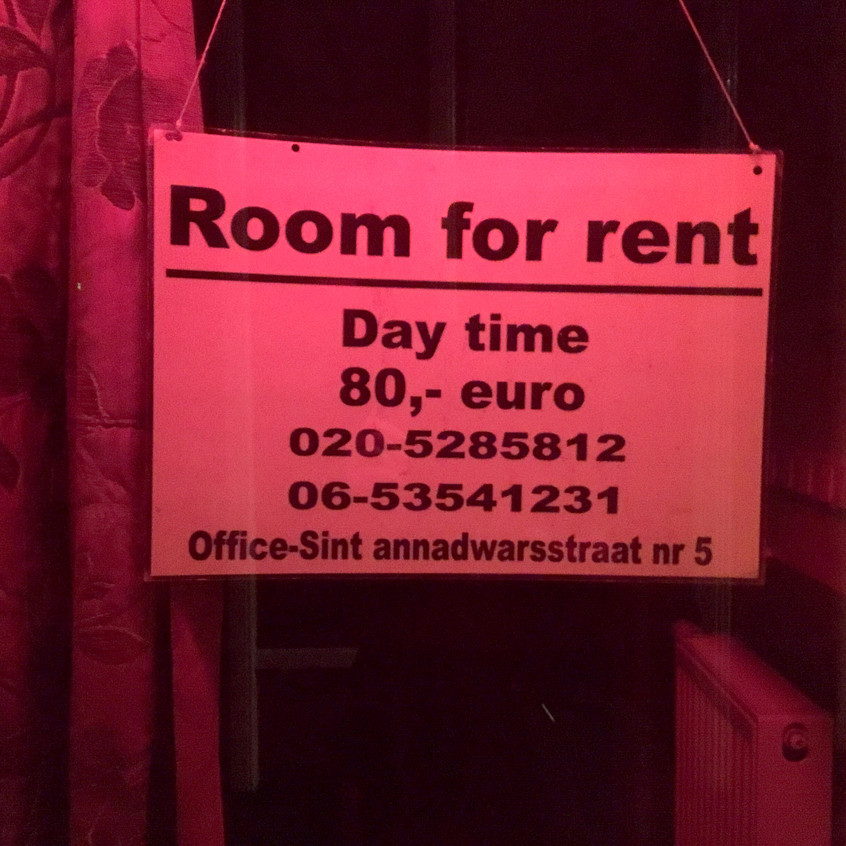 A red lit window and room for rent in Amsterdam