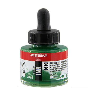 Encre Acrylique Amsterdam Vert Permanent Foncé 619