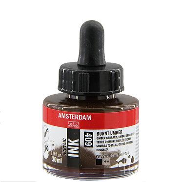 Encre Acrylique Amsterdam Terre d'Ombre Brulée 409