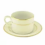 Ivory Double Gold Rimmed Coffee Cup & Saucer